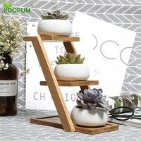 Domu kreatywny bambusa ramki nowoczesny styl minimalistyczny wielofunkcyjny ogrodnictwo salon balkon mięsiste dekoracyjne stojak na kwiaty w Tace do garnków od Dom i ogród na