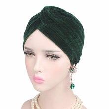 Модная Повседневная Эластичная женская шляпа, индийская шляпа, Золотая Бархатная шапка, тюрбан, Женская одноцветная мусульманская Кепка chemo, высокое качество