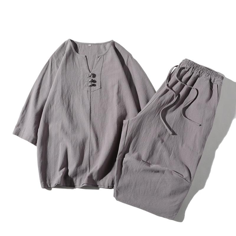 Men's Suit 4 Color V-neck Casual Linen Short-sleeved T-shirt Comfortable Loose Cropped Pants M-5XL Man Two-piece Suit