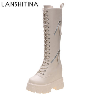 цена на New Winter Women Knee High Boots Wedges High Heels 11CM Platform Lace up Long Boots Plush Inside Warm Fur Shoes Motorcycle Boots
