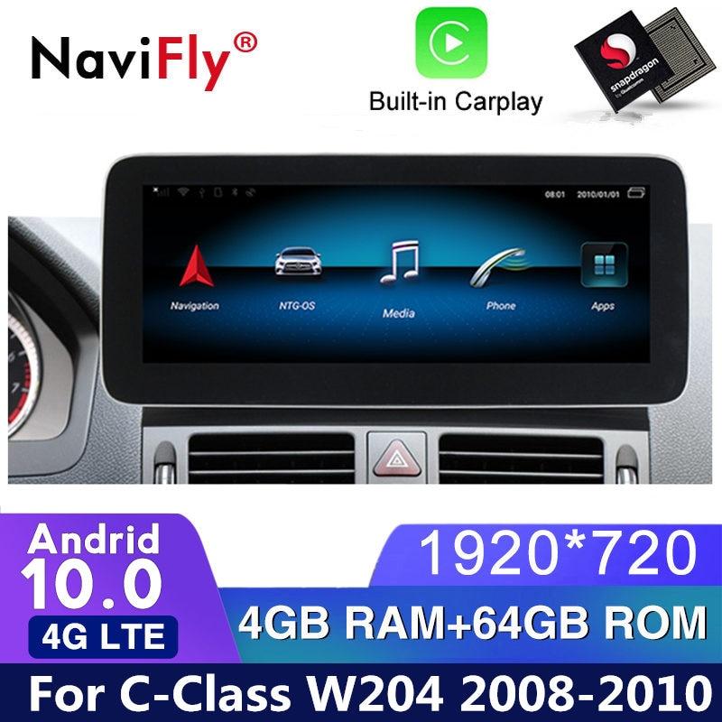 HD 1920*720 أندرويد 10 مشغل أسطوانات للسيارة راديو الصوت لتحديد المواقع لمرسيدس بنز C-Class W204 S204 2008 2009 2010 NTG4.0 مشغل وسائط متعددة واي فاي
