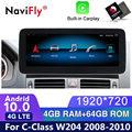 Автомагнитола HD 1920*720 на Android 10, dvd, радио, аудио, GPS, для Mercedes Benz C-Class W204 S204 2008 2009 2010 NTG4.0, мультимедийный плеер, Wi-Fi