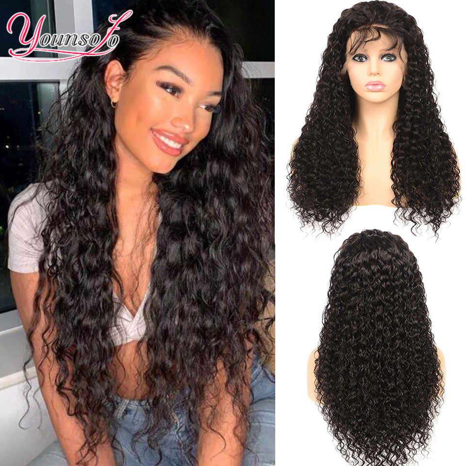 Younsolo 360 Water Wave Lace Frontal Wigs Pre Plucked With Baby Hair Brazilian 100% Human Hair 150 density Lace Front Wig