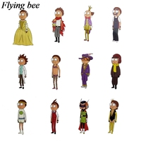 34 Flyingbee 34 pcs Rick and morty Skateboard graffiti waterproof sticker Scrapbooking Sticker for Phone Luggage Decals X0710 (4)