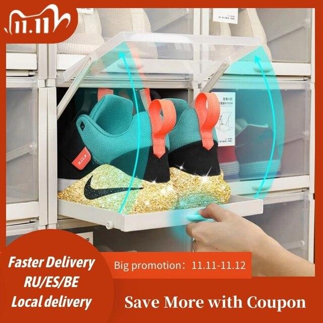 Baffect, 3 шт./лот, стойка для обуви, пластиковые штабелируемые коробки для обуви, хранение обуви, органайзер для обуви на высоком каблуке, для хранения кроссовок, ящики для обуви