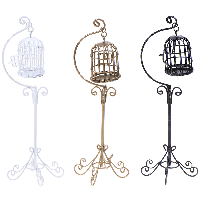 1PCS 1:12 Mini Dollhouse Metal Bird Cage Model With Holder Alloy Miniature Decorations Modern Home Room Crafts
