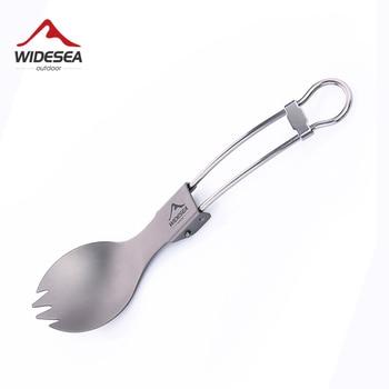 Widesea Camping Tableware Titanium Spoon Fork Set Picnic Cutlery Tourist Untenils Outdoor Cookware Kitchen Hiking Trekking 1