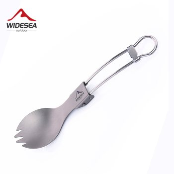 Widesea Camping Tableware Titanium Spoon Fork Set Picnic Cutlery Tourist Untenils Outdoor Cookware Kitchen Hiking Trekking цена 2017