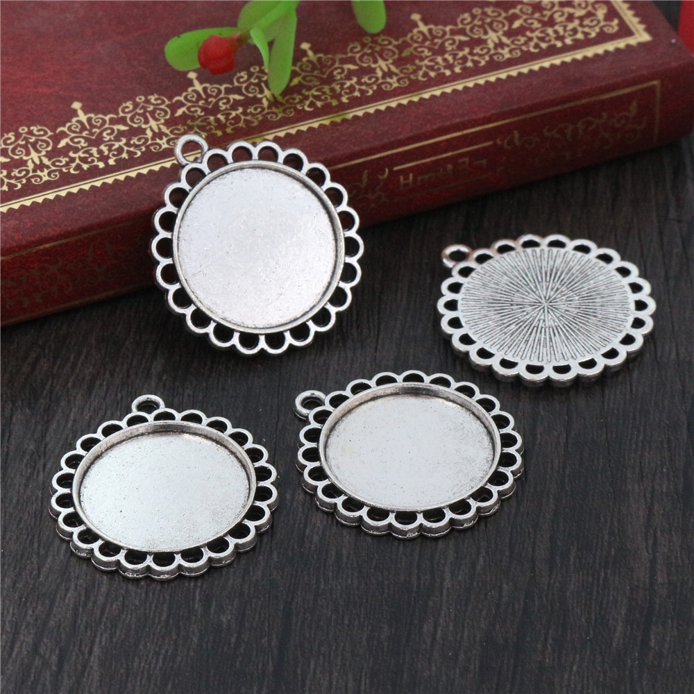 10pcs 20mm Inner Size Antique Silver Plated Classic Style Cabochon Base Setting Charms Pendant (D1-35)