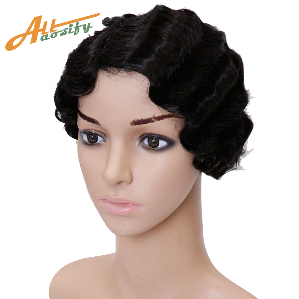 Allaosify WIG Short Pixie Wavy Wigs for Women Black Blonde Red Heat Resistant Synthetic Wigs for African American Fake Hair