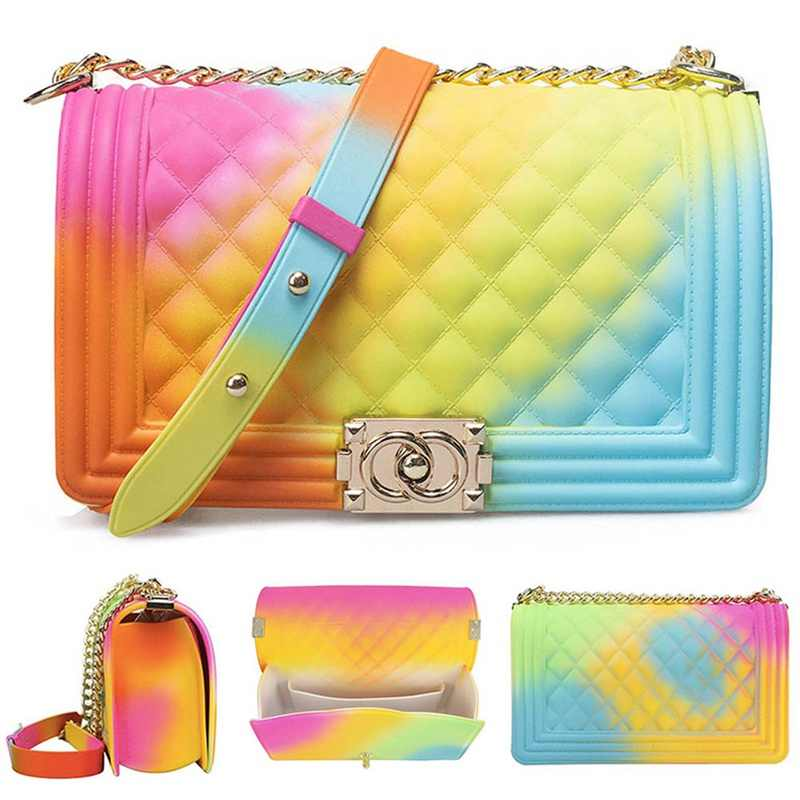 Clear Transparent Pvc Lingge Chain Jelly Bag Lady Handbag Candy Color Gradient Crossbody Bag For Women Mini Shoulder  Bag Clutch