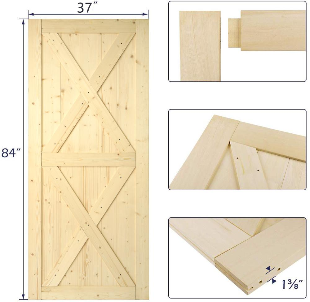 KINMADE 1-3/8in X 37in X 84in Knocked Down DIY Wood Barn Door Unfinished Solid Pine Pre-Drilled Ready To Assemble
