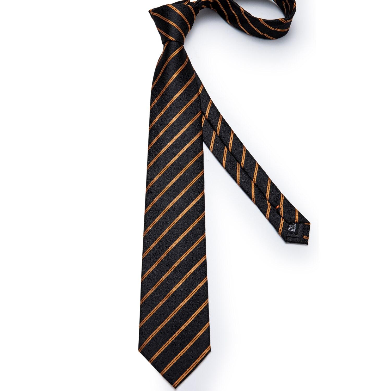 Men's Tie Set– Brown Golden Paisley 100/% Silk Brand New Hanky Cufflink