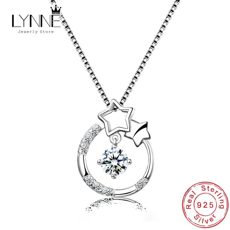 New Fashion Dance Rhinestone Pendant Necklaces 925 Sterling Silver Round Star Zircon Charm Necklace Choker Women Jewelry Gift