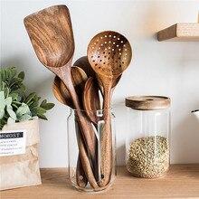 Таиланд тиковое дерево натуральная деревянная посуда ложка ковш Тернер длинный дуршлаг для риса шумовка для супа поварские ложки Совок кухонный набор инструментов