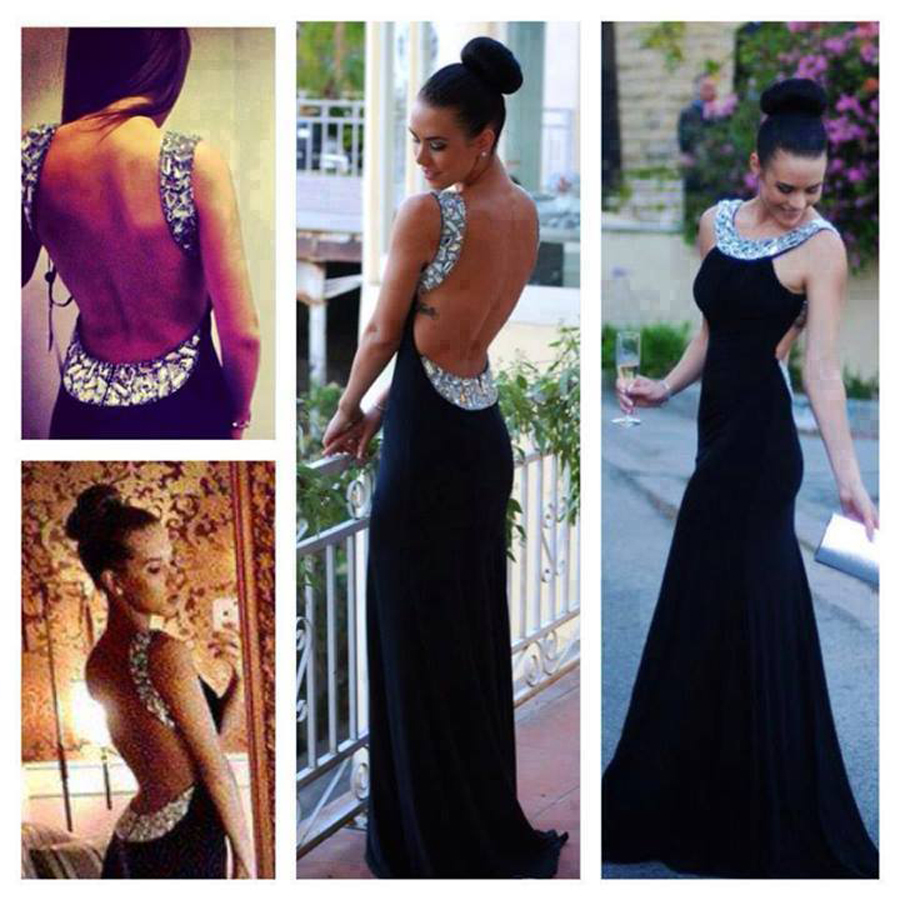 Spring Scoop Crystal Shinning Black Long Robe De Soiree Mermaid Chiffon Open Back Party Prom Gown 2018 Bridesmaid Dresses