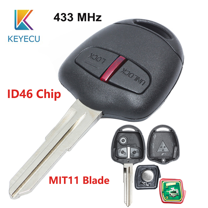 KEYECU 2 Button Car Remote <font><b>Key</b></font> for <font><b>MITSUBISHI</b></font> Montero Pajero Triton ASX Lancer <font><b>L200</b></font> Shogun MIT11 Blade 433MHz ID46 Chip image
