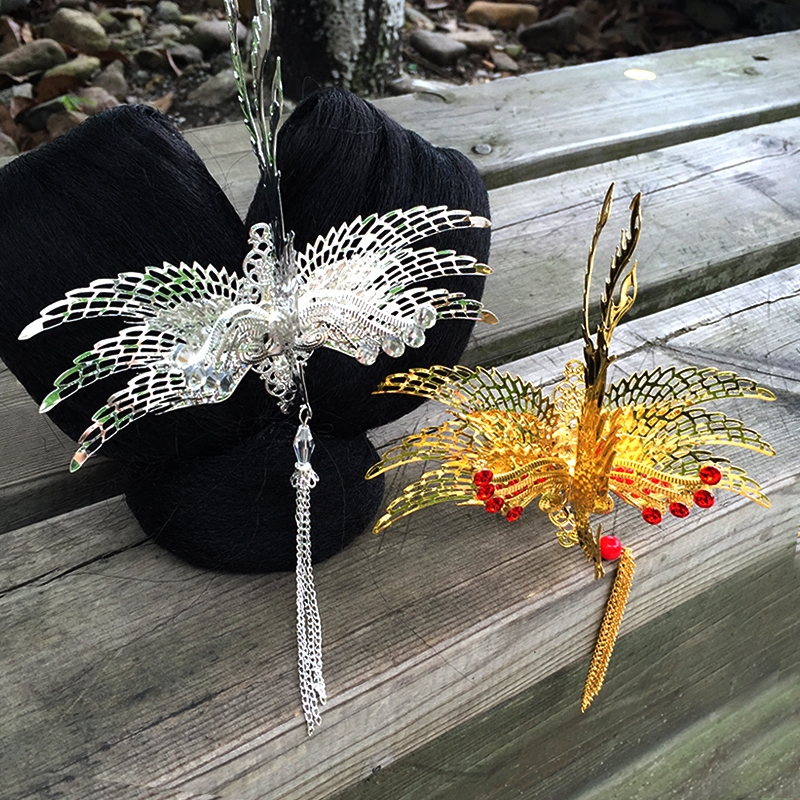 Hair-Accessories Head-Wear Phoenix-Crown Chinese Princess Gold Queen Bride Vintage