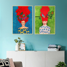 Colored abstract girl canvas painting living room decorative oil art picture bedroom