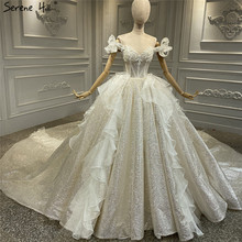 Champagne Vintage Glitter Luxury Wedding Dresses 2020 Off Shoulder Beading Pearls Bride Gown Serene Hill HA2315 Custom Made