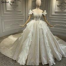 แชมเปญ VINTAGE Glitter หรูหราชุดแต่งงาน 2020 Off ไหล่ประดับด้วยลูกปัดไข่มุกชุดเจ้าสาว Serene Hill HA2315 CUSTOM Made
