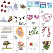Motifs de pommes de pin, cœur creux en couches, motif Floral, vue sur le jardin, élément mixte, bricolage, cartes en papier, modèle de fabrication artisanale, 2020