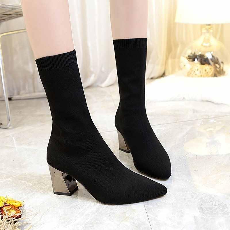 Kadın Siyah Ayak Bileği Çorap 2019 Moda Bahar Sonbahar sıcak Çizmeler Tıknaz Yüksek Topuklu Sivri Burun Kadın Ayakkabı