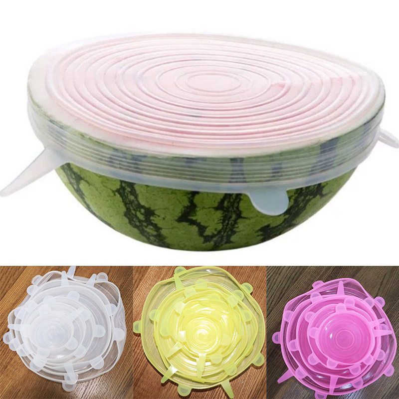 Food-Wraps Containers Lids Vacuum-Seal-Lids Food-Save-Cover Stretch Silicone Reusable