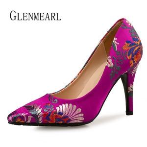 Image 3 - Kobiety pompy wysokie obcasy buty Plus rozmiar szpiczasty nosek sukienka haftowana buty kobieta cienki obcas pojedyncze buty ślubne panna młoda pompy DO