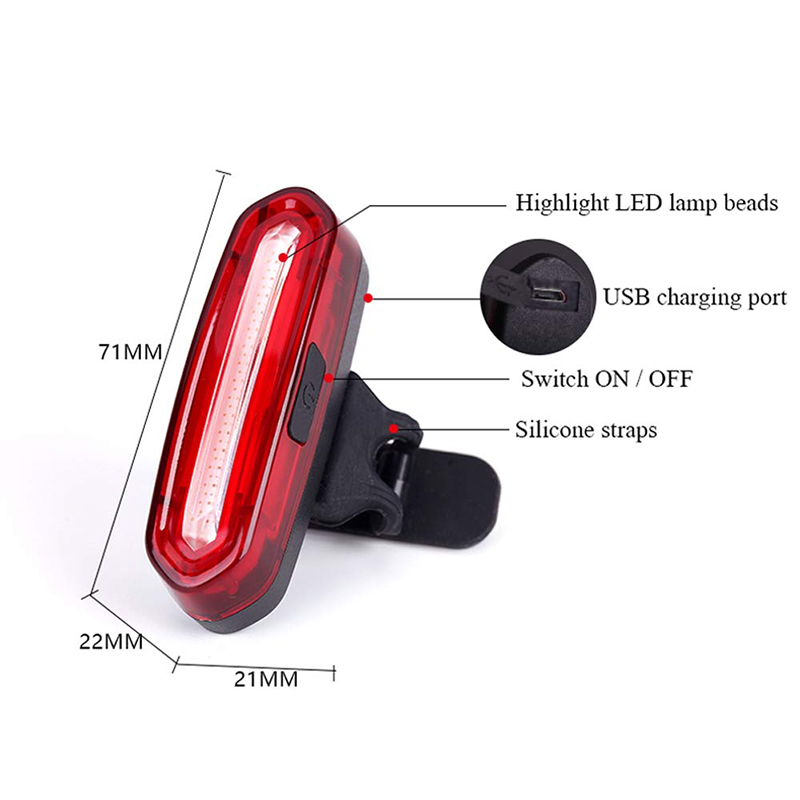 Image 3 - Bike Bicycle Lamp Rechargeable LED USB COB Mountain Bike Tail Light Taillight MTB Safety Warning Bicycle Rear Light 2018-in Bicycle Light from Sports & Entertainment