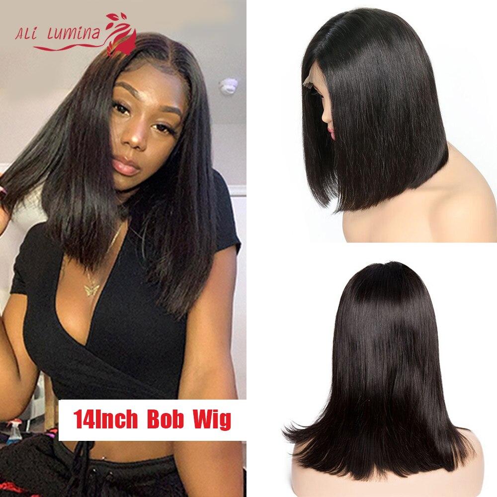 2x6 Short Bob Lace Wigs Kim K Closure Straight Wig Pre Plucked Virgin Brazilian Human Hair Wigs For Black Women Natural Color