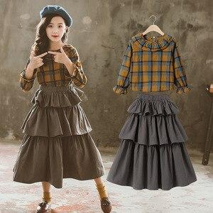 Комплекты одежды для девочек, детский клетчатый топ в стиле ретро + многослойная юбка-пачка, комплект из двух предметов, детский Весенний ко...