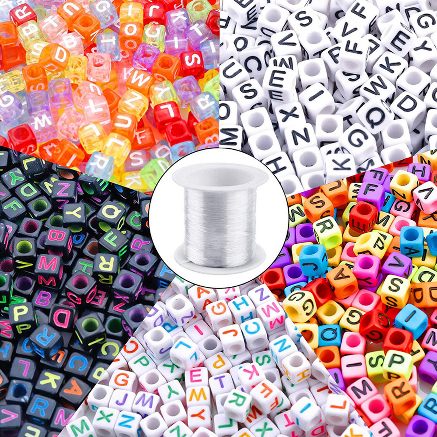 1400PCS Plastic Alphabet Letter Loose Beads With 1 Roll Thread For Kids Children Bracelets Necklaces Jewelry Making Supplies