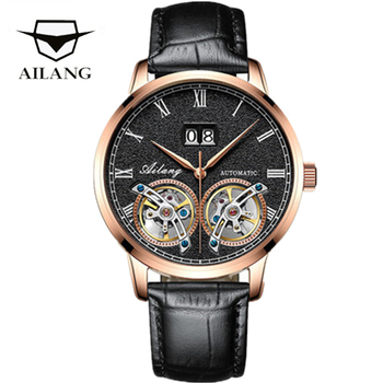 AILANG High Huality Double Tourbillon Mechanical Watch Men Top Brand Luxury Male Automatic Skeleton Business Sapphire Watch