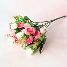 33cm  Rose Artificial Flowers Bouquet 18 Head High Quality Factory Silk for Home Decoration Wedding Roses