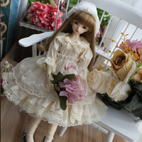 1/4 1/6 1/3 Doll clothes beige color long dress for blyth 1/6 1/4 1/3 BJD doll accessories dress+hair decoration