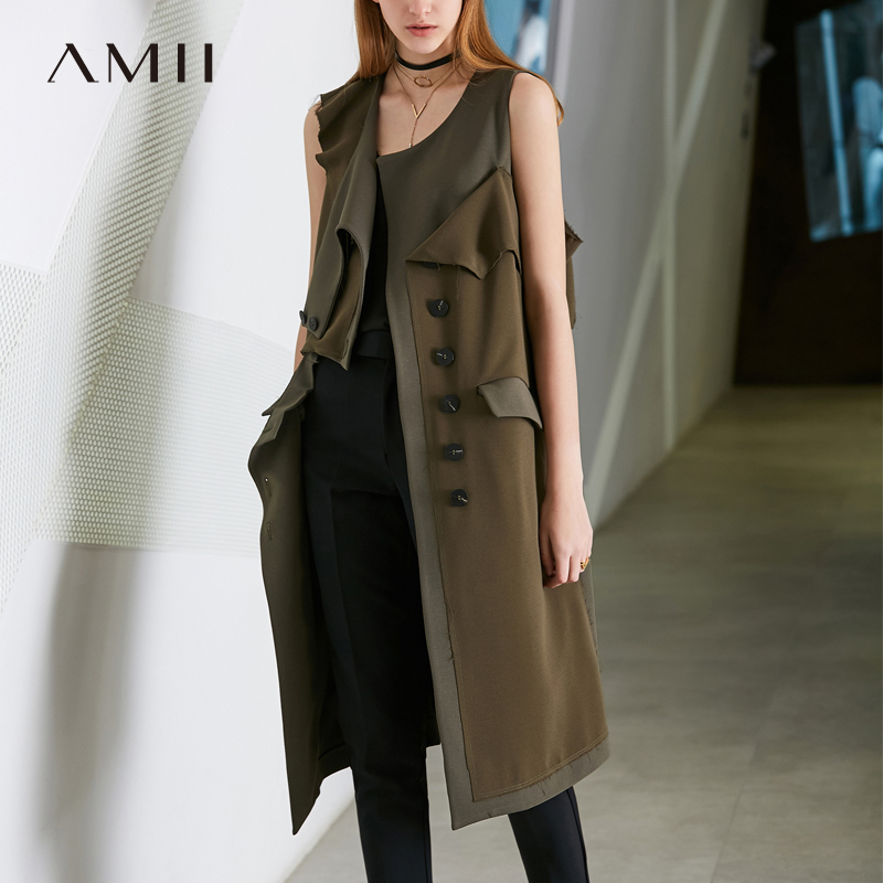 Amii Minimalism Causal Amry Green Sleeveless Jacket Women Spring Slim Vest Coat 11887070