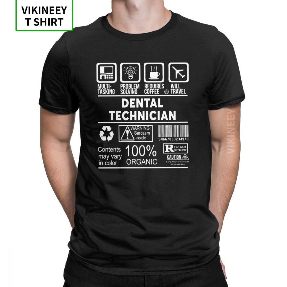 Dental Technician T Shirts Men's Dentist Plus Size Clothes Short Sleeve Vintage T-Shirts Crew Neck 100% Cotton Tees Plus Size