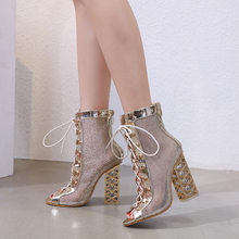2019 Sexy mesh cloth women's ankle boots, sandals, cross-tied fishmouth women's short rain boots party thick heels shoes woman(China)
