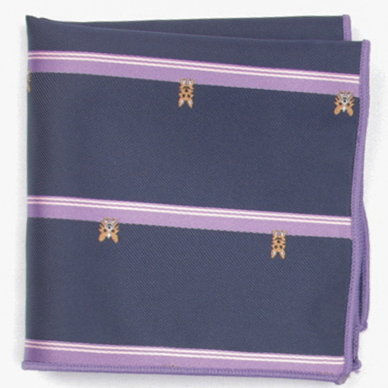 Navy Wide Stripe Patterned Pocket Square With Patterns Handkerchief