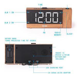 Image 3 - הקרנת רדיו שעון מעורר LED הדיגיטלי שולחן שולחן שעון נודניק פונקצית מתכוונן מקרן FM רדיו עם שינה טיימר