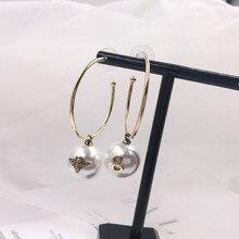 fashion circle earrings bees Pearl tassel pendant earrings retro dangle indian jewelry korean statement earrings цена