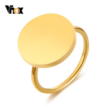 Vnox Big Coin Rings for Women Party Jewelry Gold Color Stainless Steel Signet Ring Female Alliance US Size 6 7 8 9 r006 7 skull shaped stylish titanium steel ring silver us size 6