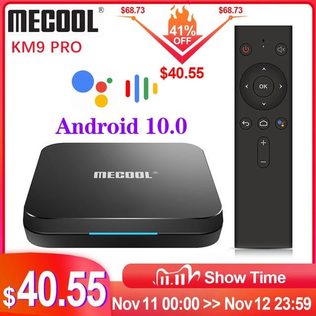 MECOOL KM9 Pro Google certifié Androidtv Android10.0 4GB 32GB Amlogic S905X2 9.0 KM3 ATV 4GB 64GB 4K double Wifi Smart TV box