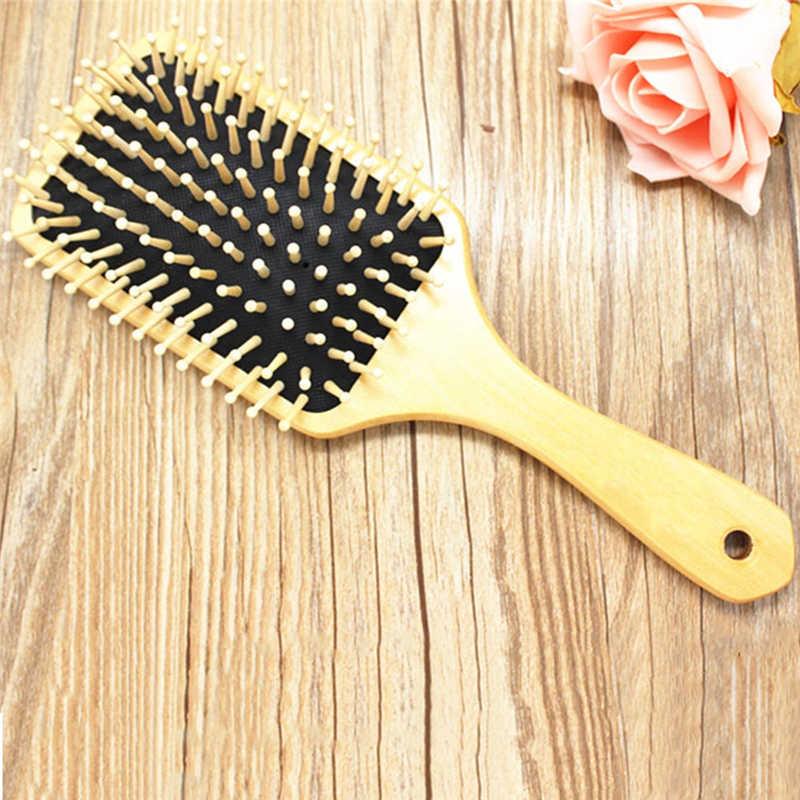 Sisir Kayu Perawatan Rambut Kayu SPA Pijat Sisir Paddle Menunjuk Menangani Gigi Sikat Rambut Antistatik Bantal Sisir Alat P20