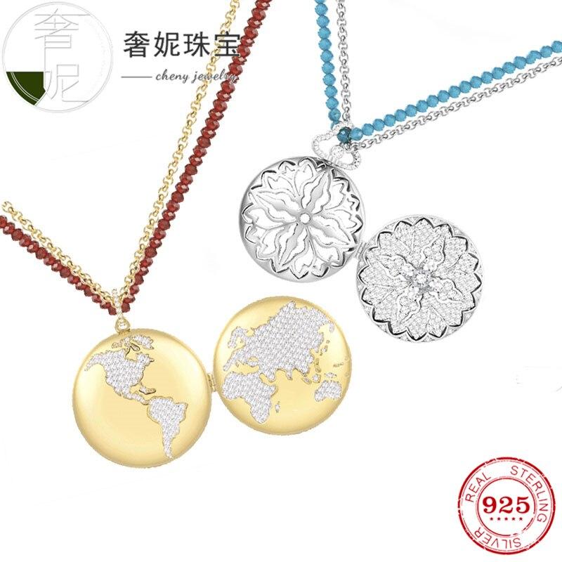 Cheny fit s925 collier en argent sterling forme de terre rouge bleu gemme vintage tour de cou montre de poche bijoux de mode pour les amoureux des femmes