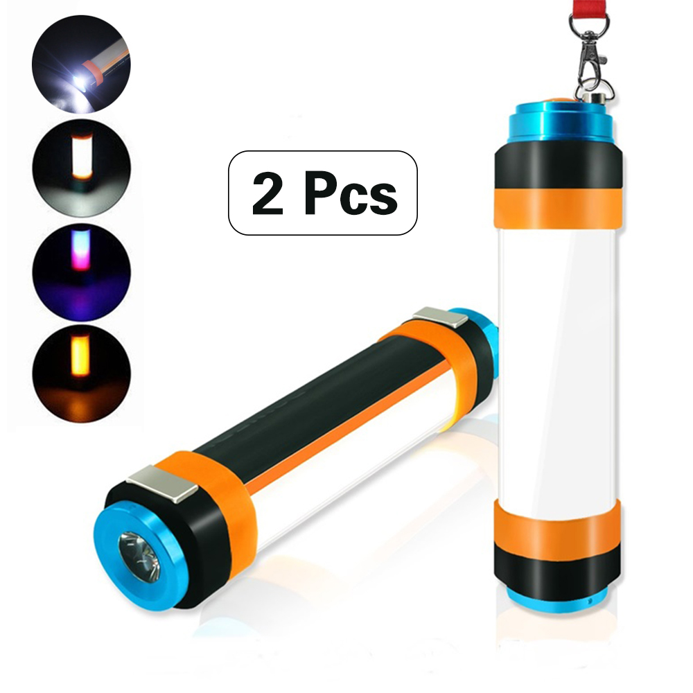 2pcs Multi-functional Hanging Magnetic lamp 2w3w 5wUSB Rechargeable IP68 Waterproof LED Camp Lights Portable lantern Flashlight