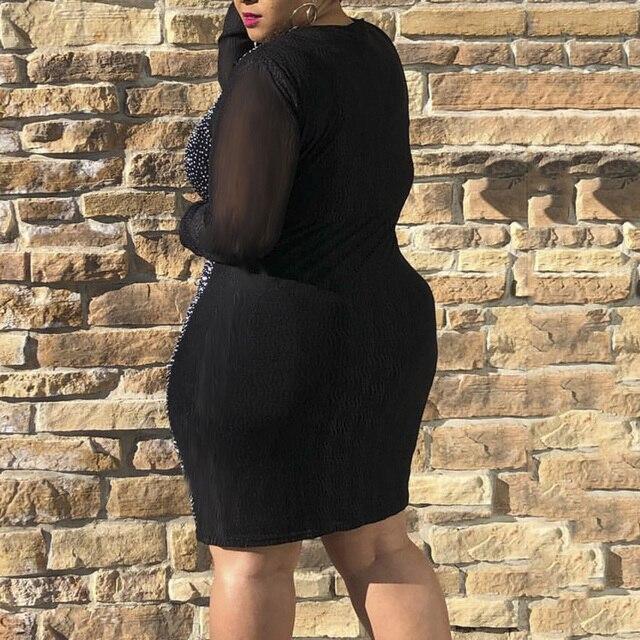 Sexy Party Dress Women Autumn Long Sleeve Mesh V Neck Shiny Rhinestones Bodycon Dresses Black Plus Size Club Wear 5XL Vestidos 1