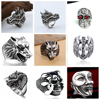 1 Pcs Stereoscopic Retro Punk Exaggerated Snake Ring Trendy Skull Dragon Snake Opening Ring Jewelry Halloween Accessories Gift