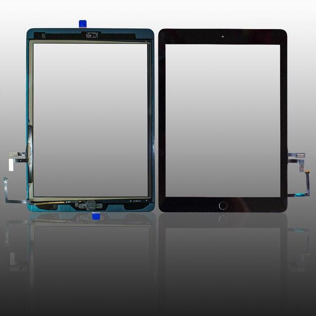 Iyi test edilmiş iPad Air1 dokunmatik ekran cam sayısallaştırıcı ve yapıştırıcı + ev flex kablo tamamlandı A1474 A1475 A1476
